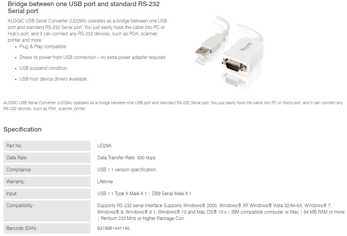 Alogic Usb 20 To Rs 232 Serial Converter Jw Computers Parallel 65cm Usb20 Male Data Transfer Rate 500kbps
