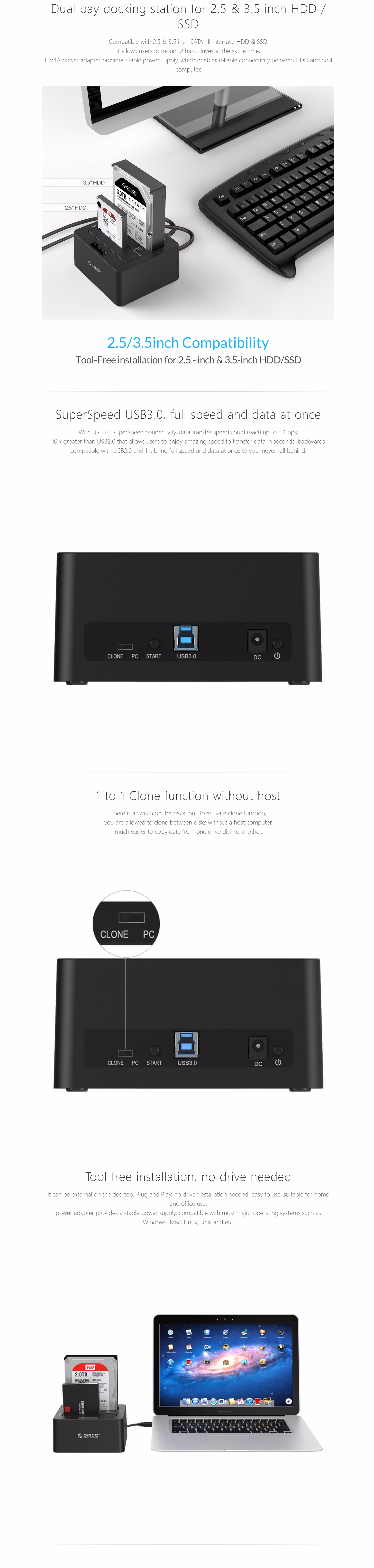 Orico Dual Bay Sata To Usb30 External Hard Drive Docking Station Hdd With Duplicator Clone Function Black 25 35 Superspeed 1 Standalone