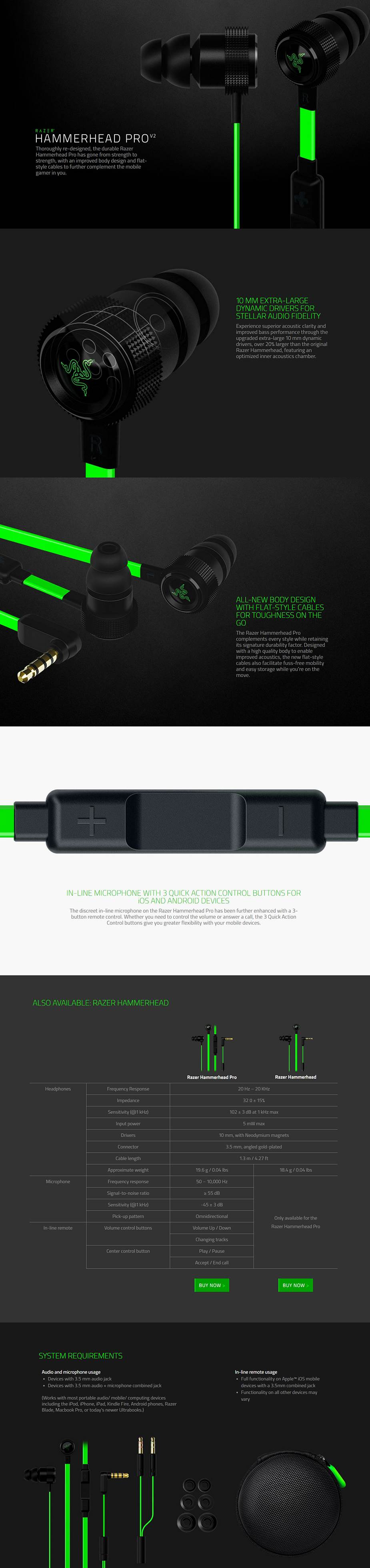Razer Hammerhead Pro V2 Analog Gaming Music In Ear Headset Jw Thoroughly Re Designed The Durable Has Gone From Strength To With An Improved Body Design And Flat Style Cables Further