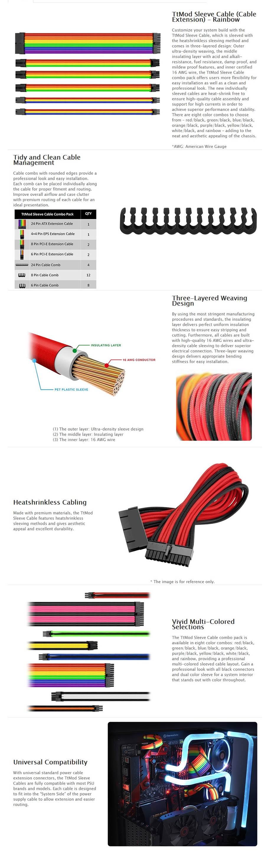 Thermaltake Ttmod Sleeve Cable Extension Rainbow Ac 049 Wiring Specifications