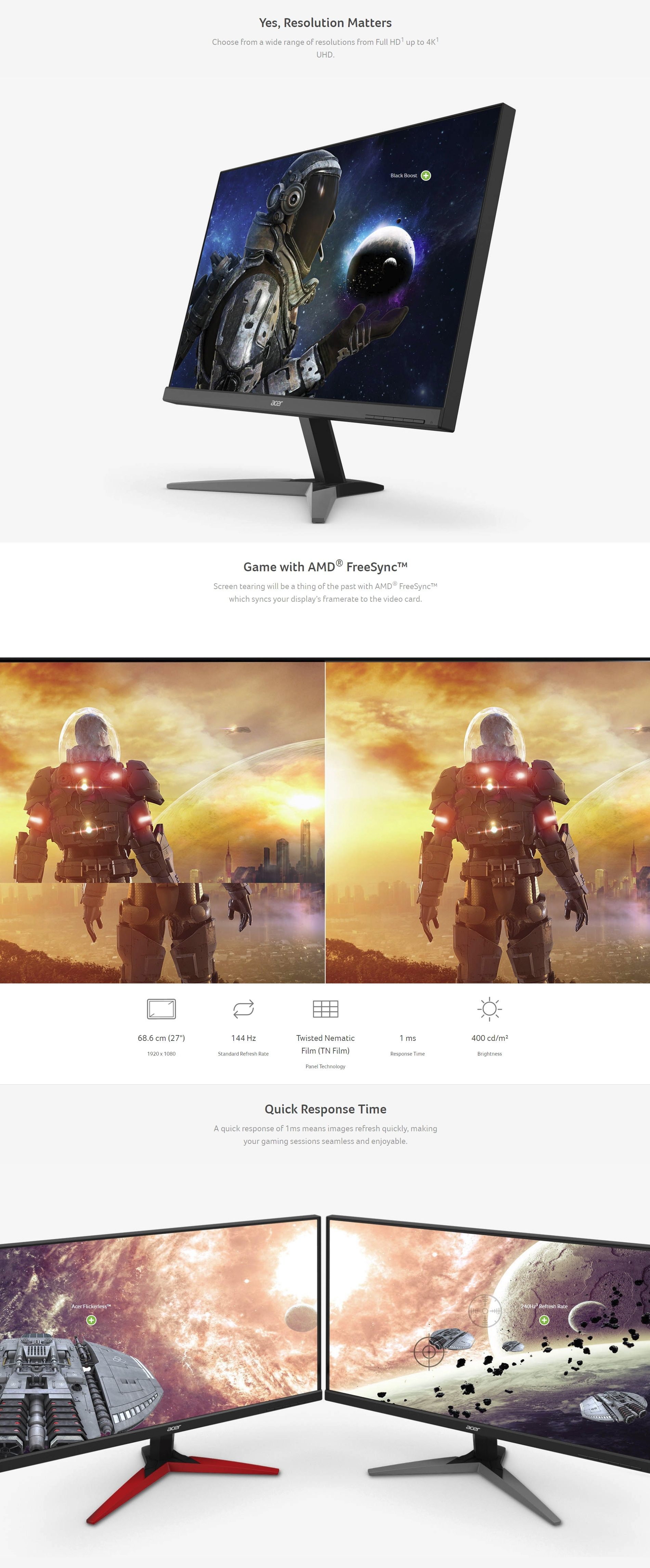 Acer Kg251qf 24 5 Quot Led Gaming Monitor 1920 X 1080 1ms