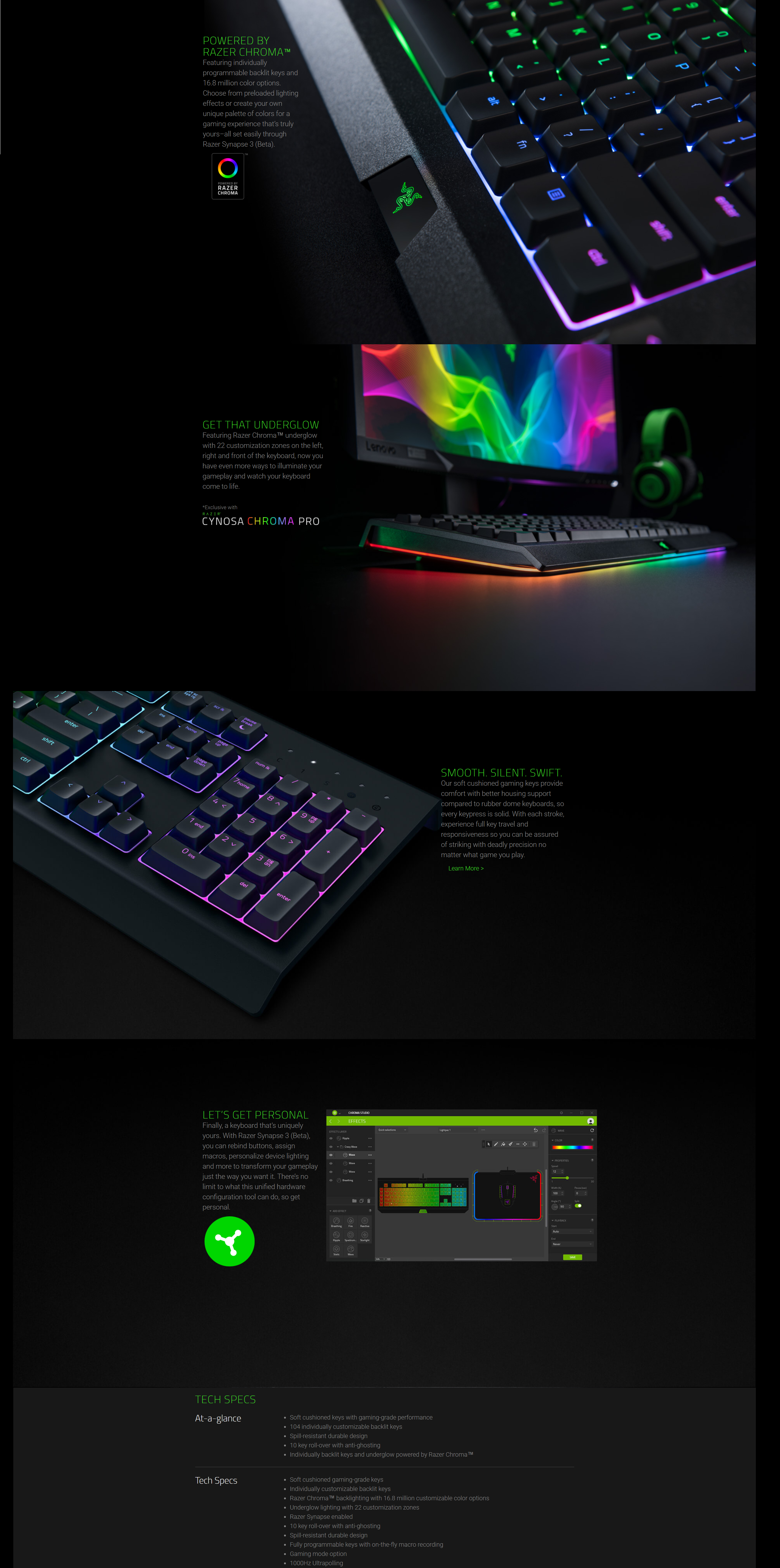 Details about Razer Cynosa Chroma Gaming Keyboard